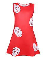cheap -Toddler Girls' Geometric Long Sleeve Dress Red