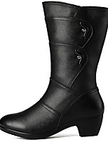 cheap -Women's Boots Low Heel Round Toe PU Booties / Ankle Boots Fall & Winter Black