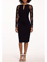 abordables -Fourreau / Colonne Bijoux Mi-long Jersey Petite Robe Noire Soirée Cocktail / Vêtements de fête Robe 2020 avec Insert de Dentelle