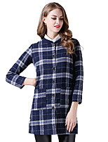 cheap -Women's Daily Basic Fall & Winter Long Trench Coat, Houndstooth Stand Long Sleeve Cotton / Polyester Blue / Red