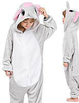 cheap -Kid's Kigurumi Pajamas Elephant Onesie Pajamas Flannel Gray Cosplay For Boys and Girls Animal Sleepwear Cartoon Festival / Holiday Costumes / Leotard / Onesie