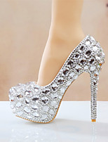 cheap -Women's Wedding Shoes Stiletto Heel Round Toe Rhinestone / Crystal / Sparkling Glitter PU Vintage / Minimalism Spring &  Fall / Spring & Summer Silver / Red / Rainbow / Party & Evening