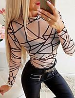 cheap -Women's Daily Basic T-shirt - Geometric Khaki