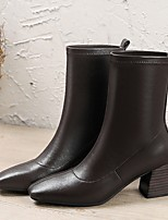 cheap -Women's Boots Chunky Heel Square Toe PU Mid-Calf Boots Fall & Winter Black / Brown