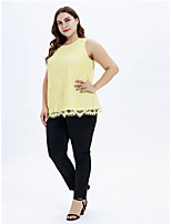 cheap -Women's Daily Basic / Elegant Blouse - Solid Colored Patchwork Yellow