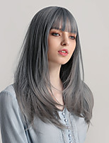 cheap -Synthetic Wig Bangs Natural Straight Side Part Neat Bang With Bangs Wig Long Ombre Grey Synthetic Hair 22 inch Women's Cosplay Women Synthetic Dark Gray Ombre HAIR CUBE / Ombre Hair