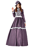 cheap -Sweet Lolita Dress JSK / Jumper Skirt Female Japanese Cosplay Costumes Purple Color Block Long Sleeve Maxi
