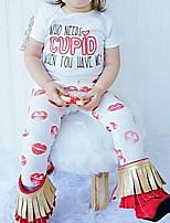abordables -bébé Fille Chic de Rue Imprimé Manches Longues Normal Ensemble de Vêtements Blanche