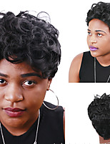 cheap -Synthetic Wig Curly Asymmetrical Wig Short Natural Black Synthetic Hair 4 inch Women's Best Quality Black