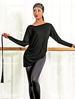 abordables -Danse latine Hauts Femme Utilisation Modal Ruché Manches Longues Haut