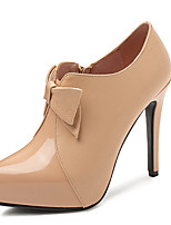 cheap -Women's Heels Stiletto Heel Pointed Toe Bowknot Patent Leather / PU Business / Casual Spring &  Fall Black / Almond