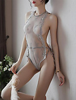 cheap -Women's Lace / Ruffle / Mesh Suits / Bodysuits Nightwear Patchwork / Solid Colored Black White Light gray S M L
