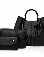 cheap -Women's PU Bag Set Solid Color 3 Pcs Purse Set Black / Camel / Blushing Pink
