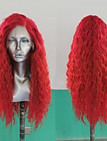 abordables -Perruque Lace Front Synthétique Ondulation Lâche Partie latérale Lace Frontale Perruque Long Rouge Cheveux Synthétiques 18-26 pouce Femme Résistant à la chaleur Synthétique Faciliter l'habillage Rouge