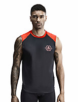 cheap -Men's Round Neck Running Tank Top Running T-Shirt Patchwork Color Block Black White Orange Running Active Training Jogging Top Sleeveless Sport Activewear Soft Sweat-wicking Sun Protection Stretchy