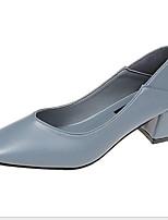 cheap -Women's Heels Chunky Heel Square Toe PU Winter Black / Wine / Blue