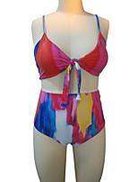 cheap -Women's Basic Rainbow Halter Cheeky Tankini Swimwear - Rainbow Backless Print L XL XXL Rainbow