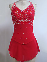 cheap -Figure Skating Dress Women's Girls' Ice Skating Dress Red Spandex High Elasticity Training Competition Skating Wear Handmade Patchwork Crystal / Rhinestone Sleeveless Ice Skating Figure Skating