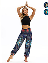 cheap -Women's Yoga Pants Harem Smocked Waist Print Dark Blue Light Blue Dance Fitness Gym Workout Bloomers Sport Activewear Lightweight Breathable Quick Dry Soft Stretchy Loose