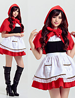 cheap -Little Red Riding Hood Dress Cosplay Costume Adults' Women's Cosplay Halloween Halloween Festival / Holiday Polyester Red Women's Carnival Costumes
