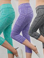 cheap -Women's High Waist Yoga Pants Fashion Sky Blue Purple Royal Blue Fuchsia Gray Cotton Running Fitness Gym Workout 3/4 Capri Pants Sport Activewear Moisture Wicking Butt Lift Tummy Control High