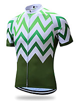 cheap -21Grams Men's Short Sleeve Cycling Jersey Winter 100% Polyester Green Bike Jersey Top Mountain Bike MTB Road Bike Cycling UV Resistant Breathable Quick Dry Sports Clothing Apparel / Stretchy