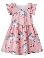 cheap -Kids Girls' Striped Animal Dress Blushing Pink