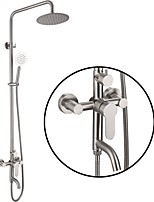 cheap -Shower System Set - Rainfall Contemporary Electroplated Wall Installation Ceramic Valve Bath Shower Mixer Taps / Stainless Steel