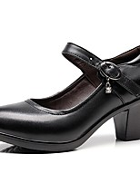 cheap -Women's Heels Block Heel Round Toe Cowhide Spring Black / White