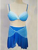 cheap -Women's Basic Light Blue Halter Cheeky Tankini Swimwear - Solid Colored Backless Ruffle L XL XXL Light Blue