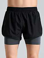 cheap -Men's Women's Running Shorts 2 in 1 Sports Shorts Running Fitness Jogging Breathable Quick Dry Soft Color Block Red Green Gray / Stretchy