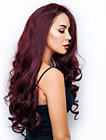 cheap -Synthetic Wig Curly Asymmetrical Wig Long Burgundy Synthetic Hair 27 inch Women's Best Quality Burgundy