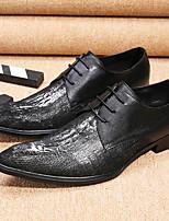 abordables -Homme Chaussures de nouveauté Cuir Nappa Printemps été / Automne hiver Simple / Britanique Oxfords Ne glisse pas Noir / Soirée & Evénement