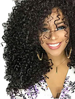 cheap -Synthetic Wig Curly Asymmetrical Wig Medium Length Natural Black Synthetic Hair 17 inch Women's Best Quality Black