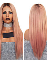 cheap -Synthetic Wig Straight kinky Straight Asymmetrical Wig Long Ombre Pink Synthetic Hair 27 inch Women's Best Quality Pink Ombre