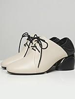 cheap -Women's Heels Chunky Heel Round Toe Pigskin Winter Black / White