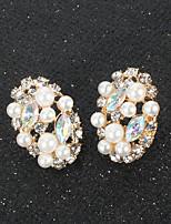 abordables -Femme Perle Boucle d'Oreille Pendantes Géométrique Amour Gros Fantaisie Imitation de perle Des boucles d'oreilles Bijoux Blanche Pour Mariage Soirée 1 paire
