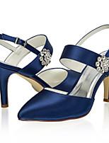 cheap -Women's Wedding Shoes Stiletto Heel Closed Toe Satin Sweet Spring & Summer / Fall & Winter Royal Blue