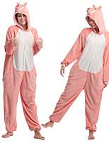 abordables -Adulte Pyjamas Kigurumi Porcelet / Cochon Combinaison de Pyjamas Flanelle Rose Cosplay Pour Homme et Femme Pyjamas Animale Dessin animé Fête / Célébration Les costumes / Collant / Combinaison