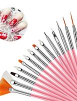 cheap -15Pcs Nail Beauty Brush Set Dotting Drawing Pen Paint Brushes for Manicure Wood Handle Brush for Nail DIY Decoration