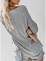 cheap -Women's Daily Weekend Basic T-shirt - Striped Black & White White