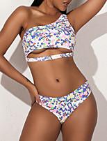 cheap -Women's Basic White High Neck Briefs Tankini Swimwear - Polka Dot Geometric Print S M L White
