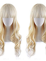cheap -Synthetic Wig Curly kinky Straight Asymmetrical Wig Long Light golden Synthetic Hair 27 inch Women's Best Quality Blonde