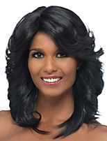 cheap -Synthetic Wig Curly Asymmetrical Wig Short Natural Black Synthetic Hair 26 inch Women's Best Quality Black