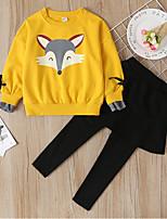 cheap -Kids Girls' Basic Print Long Sleeve Clothing Set Yellow