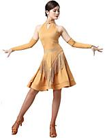 abordables -Danse latine Robes Femme Soirée / Utilisation Fibre de Lait Gland / Cristaux / Stras / Paillette Sans Manches Taille moyenne Robe