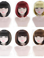 cheap -Synthetic Wig kinky Straight Bob Neat Bang Wig Short Light Blonde Light Brown Black#1B Brown Natural Black Synthetic Hair 11 inch Women's Best Quality Black Brown