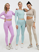 cheap -Women's Tracksuit Yoga Suit Solid Color Purple Blue Pink Khaki Yoga Fitness Gym Workout Tights Crop Top Long Sleeve Sport Activewear Breathable Moisture Wicking Butt Lift Tummy Control High Elasticity