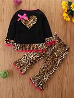 cheap -Baby Girls' Casual Leopard Long Sleeve Regular Regular Clothing Set Black