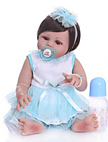cheap -NPKCOLLECTION 20 inch Reborn Doll Baby Baby Girl lifelike Gift Artificial Implantation Brown Eyes Full Body Silicone Silicone Silica Gel with Clothes and Accessories for Girls' Birthday and Festival